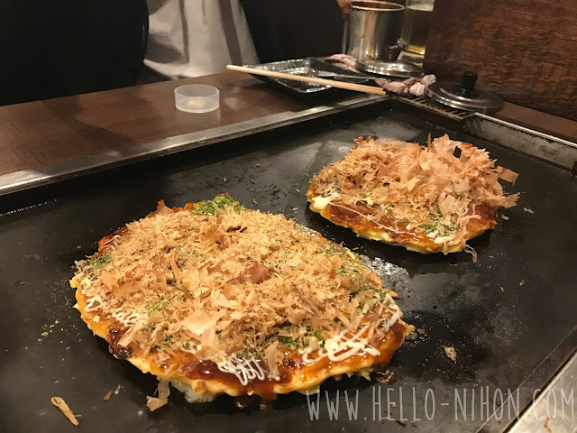 Okonomiyaki with katsuo bonito