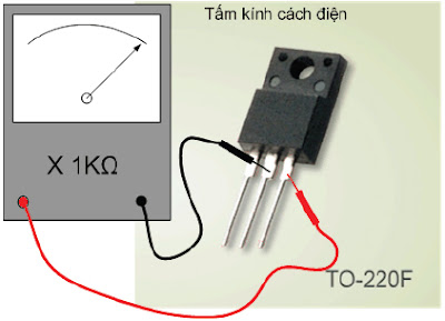 Hình 8d - Sau khi nạp dương cho cực G  và đo thuận D - S thì đèn phải dẫn nếu đèn không dẫn là đèn hỏng