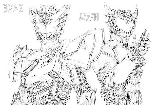 gambar mewarnai Bima-X dan Azazel