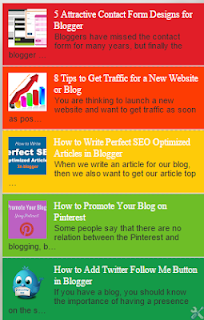 Colorful Recent Posts Widget with Image Thumbnail For Blogspot