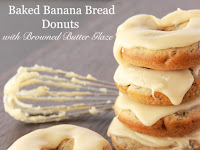 Baked Banana Bread Donuts with Browned Butter Glaze