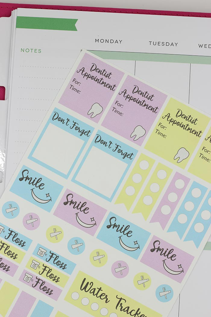 Free Printable Dental Reminder Planner Stickers | Sunny ...