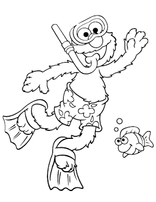 Gambar Mewarnai Elmo - 12