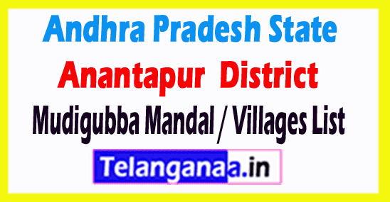 Mudigubba Mandal Villages Codes Anantapur District Andhra Pradesh State India