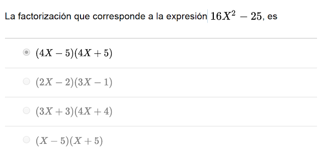 factorización que corresponde a la expresión