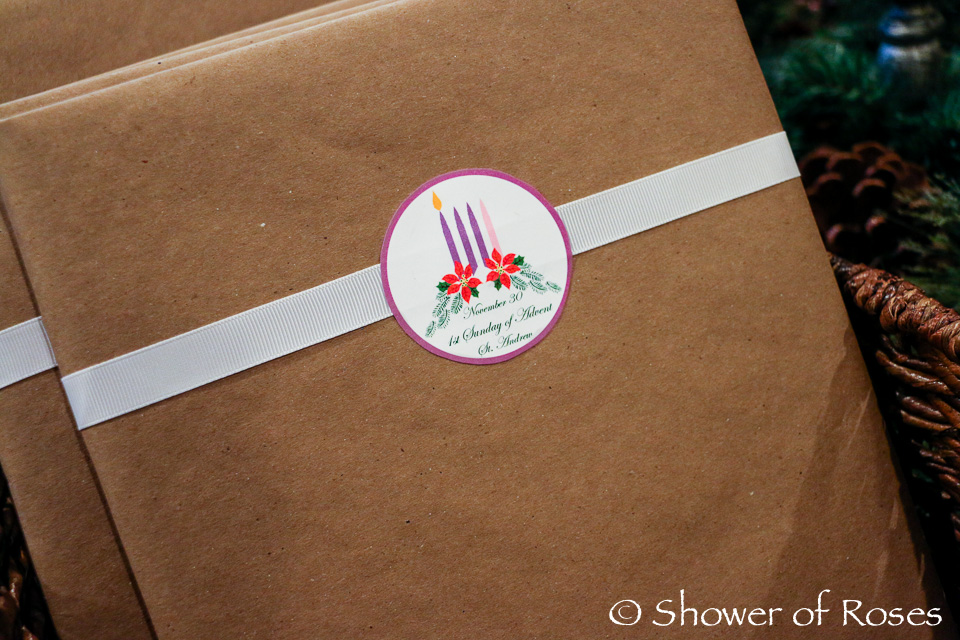 Shower of Roses Our 2014 Advent Book Basket and Printable Labels