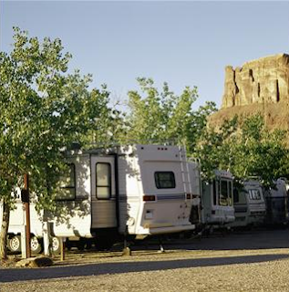 Recreational vehicle camped under trees