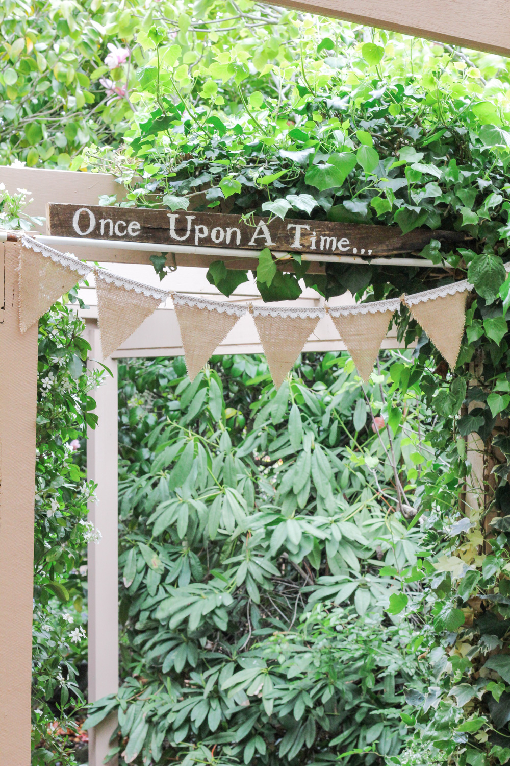 Once Upon A Time wooden sign and hessian and lace bunting