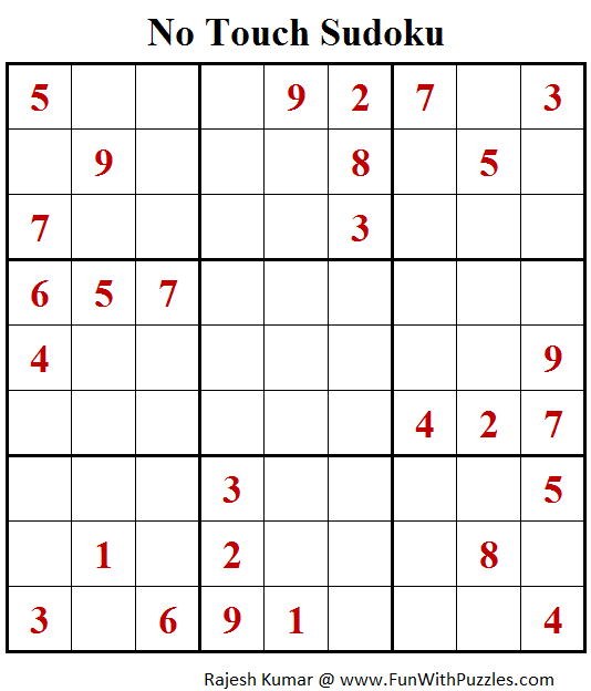 No Touch Sudoku Puzzle (Fun With Sudoku #257)