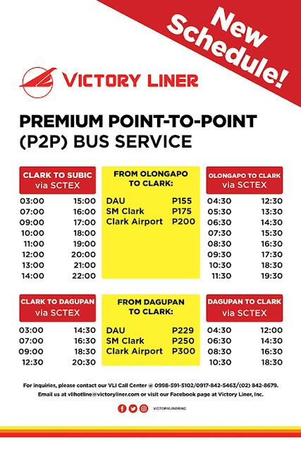 victory liner clark p2p bus schedule