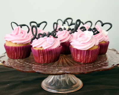 Valentine's Day cupcakes with buttercream icing