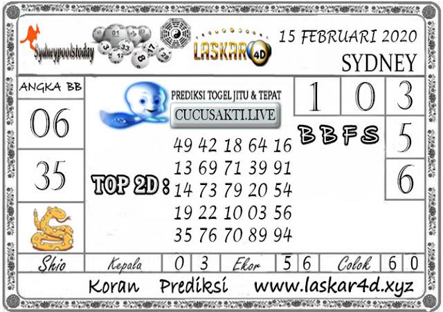 Prediksi Togel SYDNEY LASKAR4D 15 FEBRUARI 2020