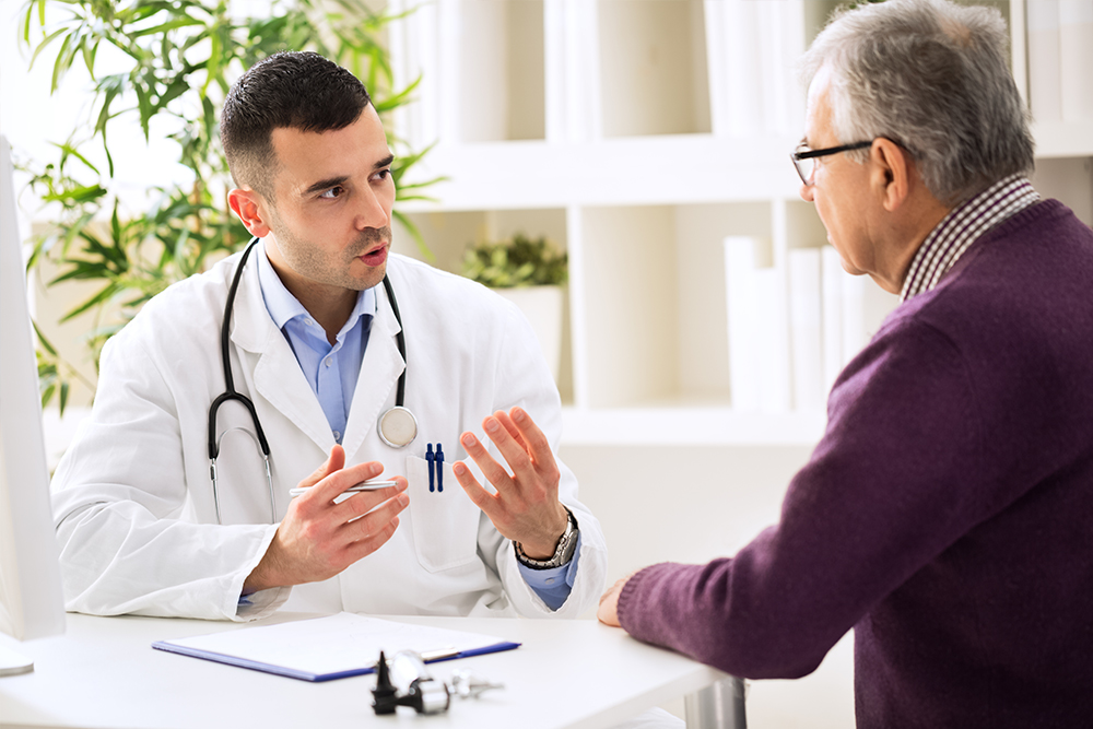 doctor and patient discussing colon cancer