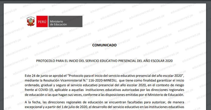 COMUNICADO MINEDU: Protocolo para el inicio del servicio educativo presencial del año escolar 2020 (R. VM. N° 116-2020-MINEDU) www.minedu.gob.pe