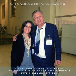Elena Tione a Bruxelles nel 2018 con il ginecologo chirurgo pelvico francese, Dr. Eric Bautrant