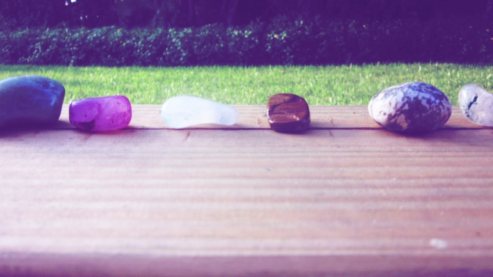 Gemstone Healing Stone Flat Lay Arrangement in the Backyard