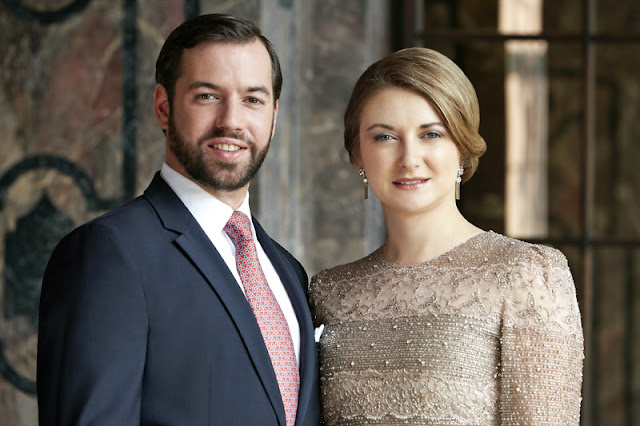 New official portraits of Hereditary Grand Duke Guillaume and Hereditary Grand Duchess Stéphanie of Luxembourg