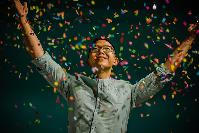 Man celebrating success