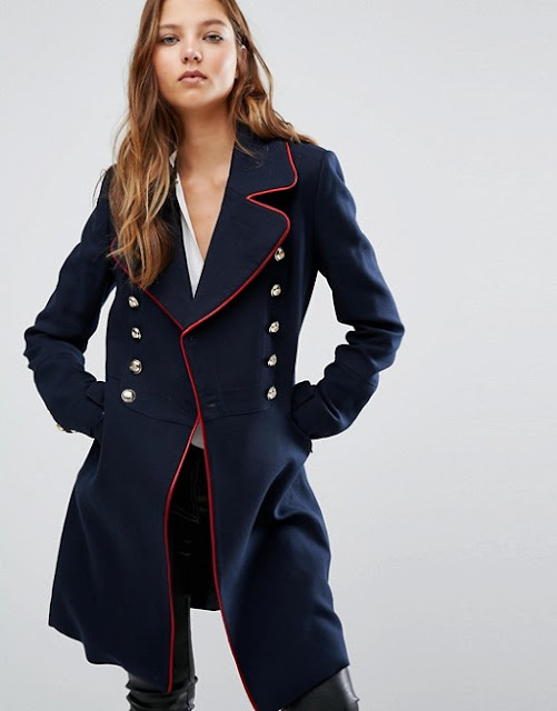 mango military coat, navy red military coat, navy military coat,