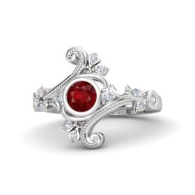 Nhẫn bạch kim đá Ruby và kim cương