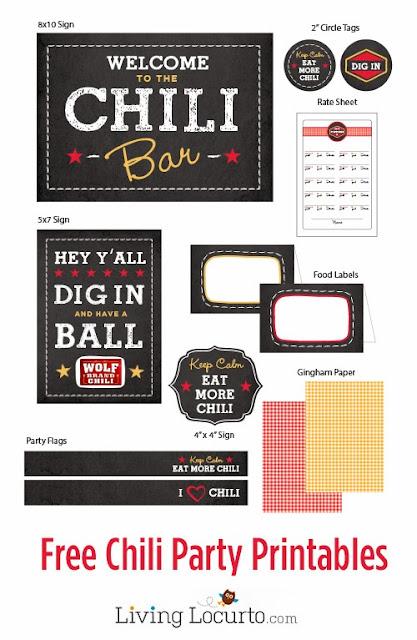Chili Bar free printables