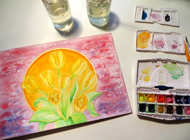 Tulip watercolor painting demonstration and tips + Free watercolor art supply guide.