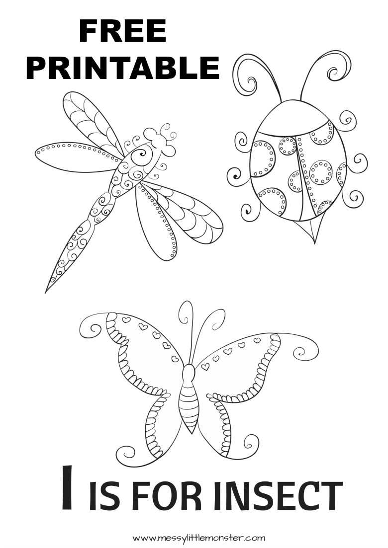 I is for insect colouring page. A fun way for kids to learn the alphabet. Free printable bug colouring sheet including a bug, dragonfly and butterfly.