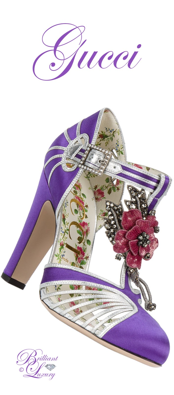 Brilliant Luxury ♦ Gucci T-Strap Floral Applique Pumps