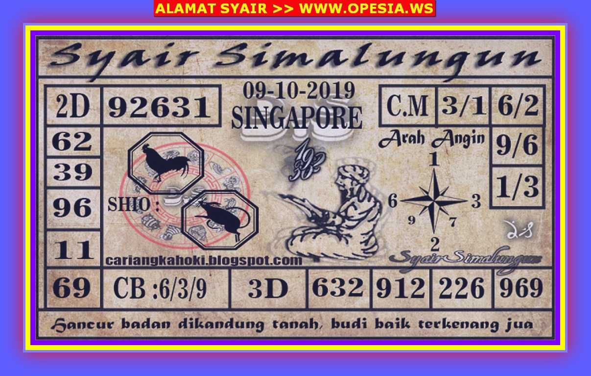 Kode syair Singapore Rabu 9 Oktober 2019 97
