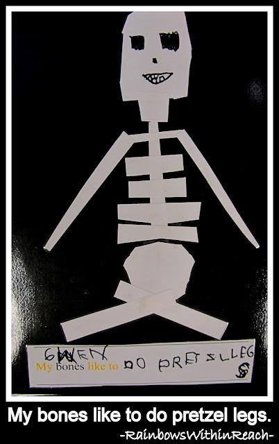 photo of: My bones like to do pretzel legs. Kindergarten Class Book from LizzLessons via RainbowsWithinReach)