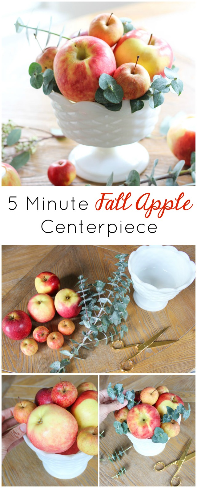 The easiest fall centerpiece idea using apples and eucalyptus!