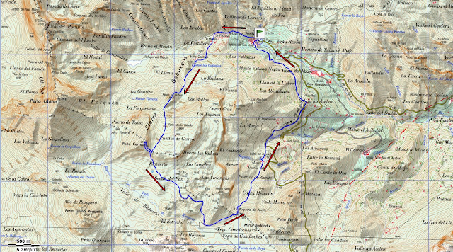 Mapa topográfico ruta Peña Cerreos.