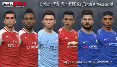 PES 2017 PTE Patch 2017 6.1 Option File 10/02/2018 by Sofyan Andri