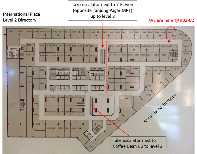 Map of level 2 of International Plaza shop directory