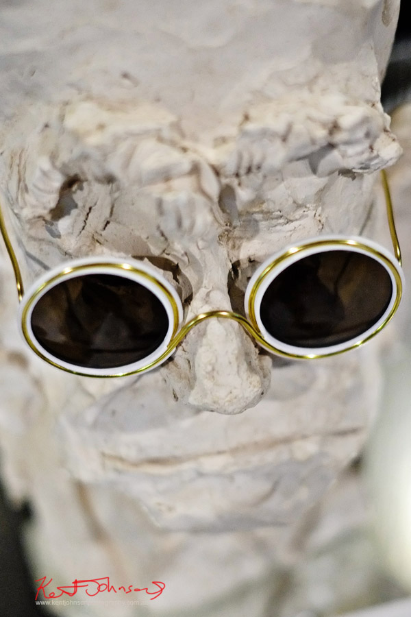 Ethically made Sunglasses by Wires, bust of head by Daniel Dominguez. Photographed by Kent Johnson for Street Fashion Sydney.