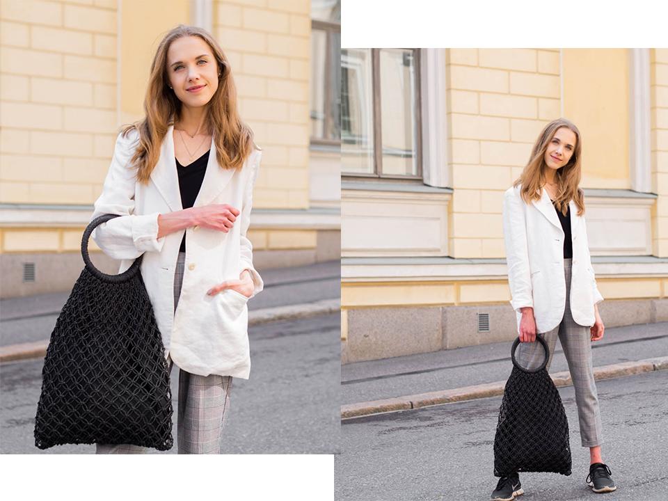 fashion-blogger-outfit-white-linen-blazer-macrame-bag-trends
