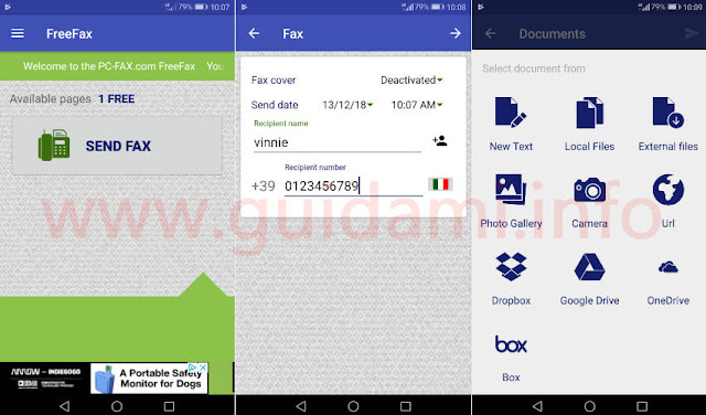 Schermate app Android FreeFax