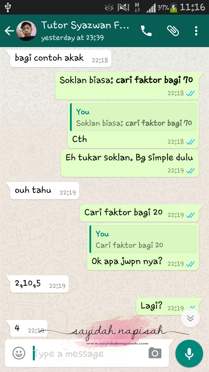 first time ajar student subjek matematik secara online (whatsapp)