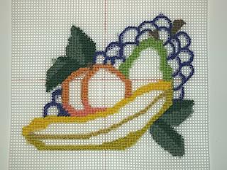 step 1 for fruit needlepoint still life