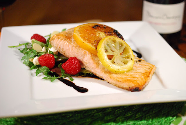 Roasted Citrus Salmon with Raspberry and Goat Cheese Salad, Photo Credit: Greg Hudson