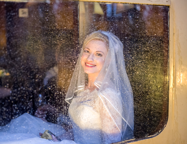 The bride through the train window