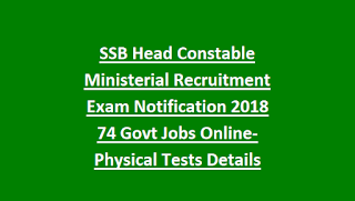 SSB Head Constable Ministerial Recruitment Exam Notification 2018 74 Govt Jobs Online-Physical Tests Details, Exam Pattern