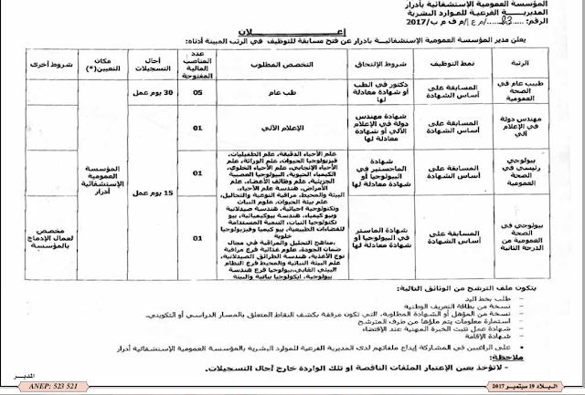 اعلان توظيف في المؤسسة العمومية الاستشفائية أدرار-سبتمبر 2017