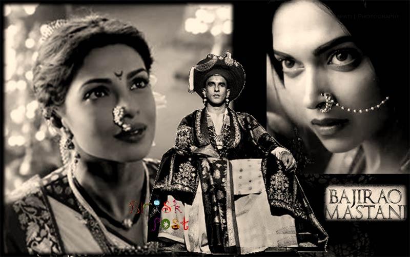 Kashibai Priyanka Chopra, Bajirao Ranveer Singh, and Mastani Deepika Padukone in Vintage look of history by Anju Modi