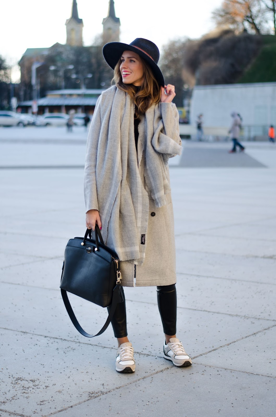 kristjaana mere gray wool coat long scarf fedora minimal winter outfit