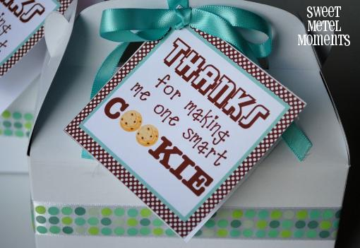 Its written on the wall more teacher appreciation gift ideas one smart cookie make your childs teacher some of your fabulous cookies and im sure shell have a smile on her face the box is an embellished gable box negle Images