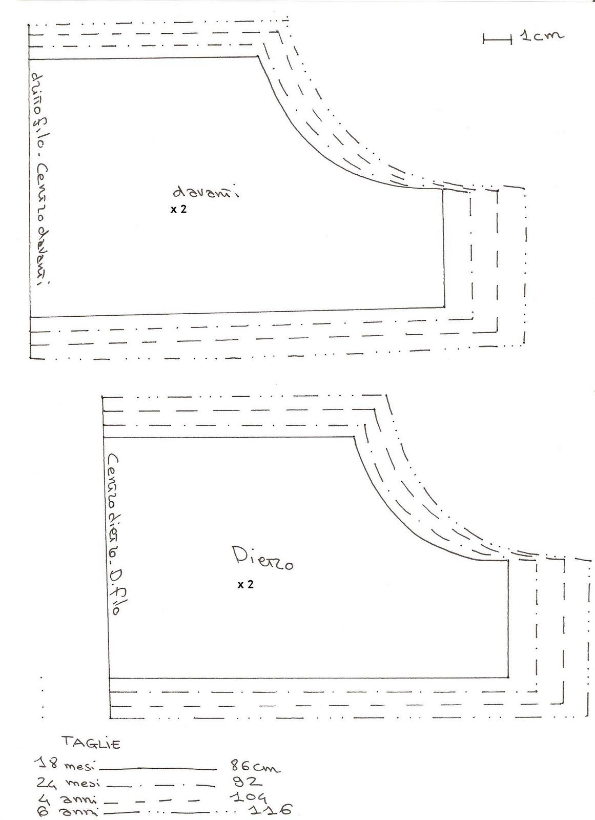 a79769a1d1 La gonna si compone di due rettangoli con le seguenti misure: 18 mesi: 44  cm x 60 cm (lunghezza gonna) 2 anni: 46 cm x 62 cm 4 anni: 50 cm x 67 cm 6  anni: ...