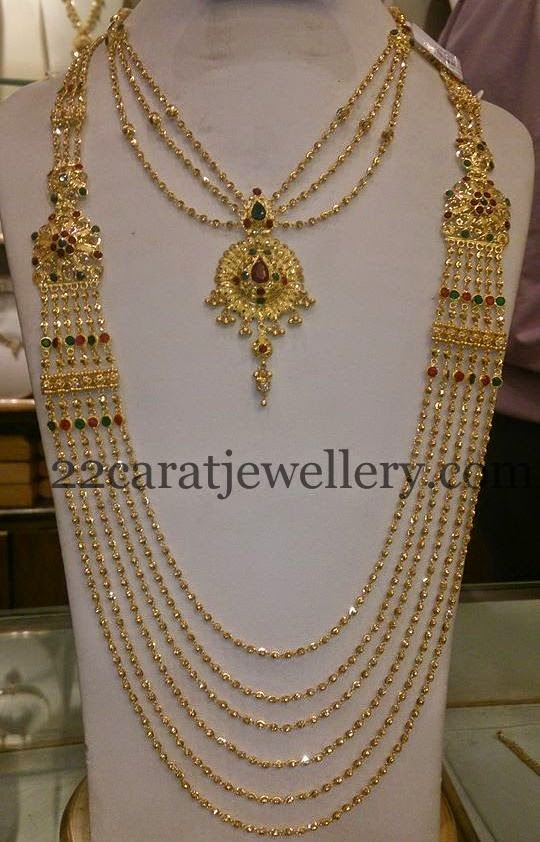 Chandra Haram And Simple Necklace Jewellery Designs