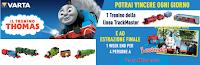 Logo Concorso ''Vinci con Varta'': vinci 153 Trenini Thomas e soggiorno a Leolandia