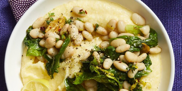 Beans and Greens with Lemon-Parmesan Polenta